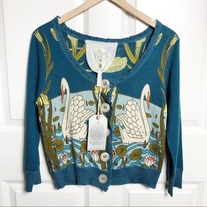 Anthropologie Knitted Doves Swan Print Cardigan